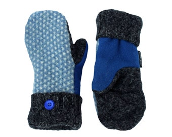 Blue and Gray Mittens, Polka Dot  Light Blue Sweater Mittens, Recycled Wool, Handmade Made in Wisconsin by Sweaty Mitts