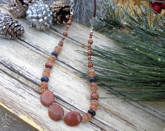 Sunstone and Dumertierite Beaded Necklace