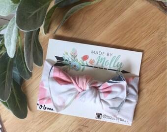 Pink + Sage Knot Bow Headband