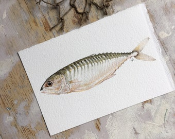 Original watercolor painting of a fish, nautical art, sea art, beach art, boho, gold, minimal art, white, pretty, interior design, home