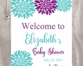 Floral Baby Shower Welcome Sign, Printable Purple And Teal Baby Shower  Personalized Sign, Floral