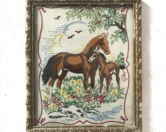 FRENCH VINTAGE EMBROIDERY / Stitches / Horse / Folk Art / Hand made / Framed / Ornamented frame / Shabby chic