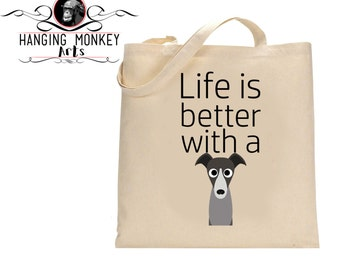 Greyhound gifts, Greyhound tote Bag, Greyhound Shopper, Greyhound eco bag, Greyhound bag, eco friendly bag, cotton shopper with long handles