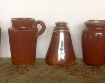 Antique Rustic Stoneware Pots & Jug..Brown Earthenware Pots. 1900's.