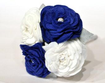 Blue and white flower girl bouquet / small bouquet / felt rose bouquet / sparkle bouquet / everlasting wedding flowers / bridesmaid flowers
