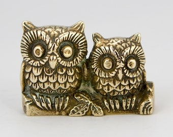 Two Vintage Brass Owls Figurine/ Ornament
