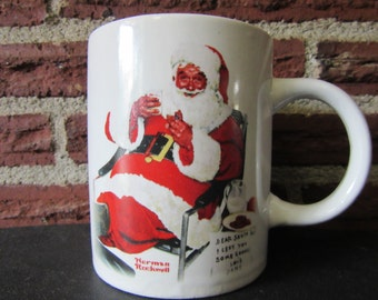 Norman Rockwell Sanata Coffee Cup, Santa Claus Coffee Cup, Norman Rockwell Santa, Norman Rockwell Cup