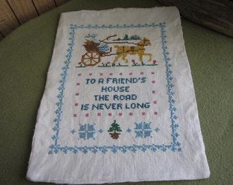Cross Stitch Pillow Case Small Pillows Case to a Friend's House Rustic Farmhouse Fiber Art Decorative Pillowcase