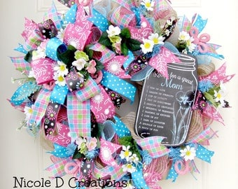 Mothers Day Wreath- Spring Wreaths- Summer Wreaths- Front Door Wreaths- Deco Mesh Wreaths
