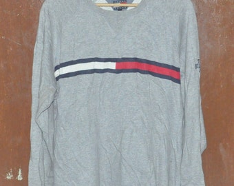 Vintage 1990s Tommy Hilfiger Jeans Hip Hop Swag Sweater Sweatshirt Size Large Gray