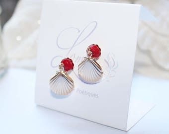 Gold plated stud earrings with red sea bamboo