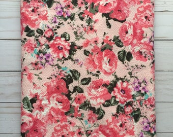 PINK Floral Liverpool Knit Stretch Fabric 4 way stretch BTY By The Yard