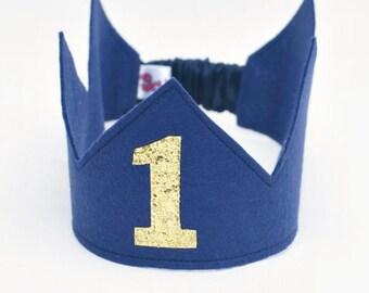 First Birthday Crown -  Royal Blue Crown -1st Birthday Crown Boy - Birthday Boy outfit  - Cake smash outfit boy - Birthday boy crown