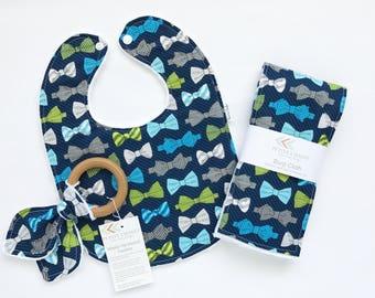 Baby Bib, Burp Cloth, and Teether Set - Modern Baby Bib Set - Bowtie Bib, burp Set - Hipster Gift Set - Minky Bib - Handmade Gift