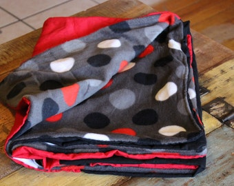 Bandana Quilt Blanket Red and black with red, black and white dots Handmade Blanket Throw, Baby blanket, Baby Shower