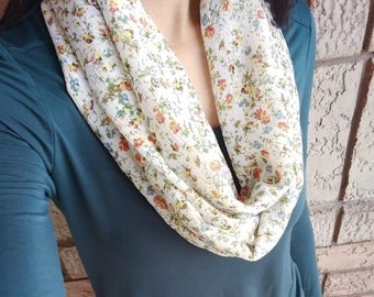 Floral Infinity Scarf, Fall Scarves, Lightweight Scarf, Tiny Florals, Orange Green Scarf