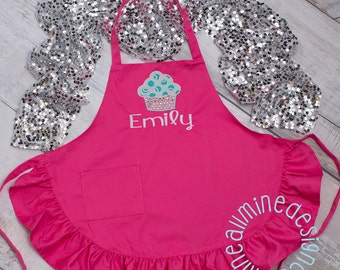 Christmas Gift Girls Ruffled Apron, Personalized Kids Apron, Hot Pink Child Size Apron, Kids Apron with Pockets, Paint Apron, Cooking Apron