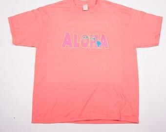 Vintage Aloha Hawaii 90s Neon Pink Tshirt