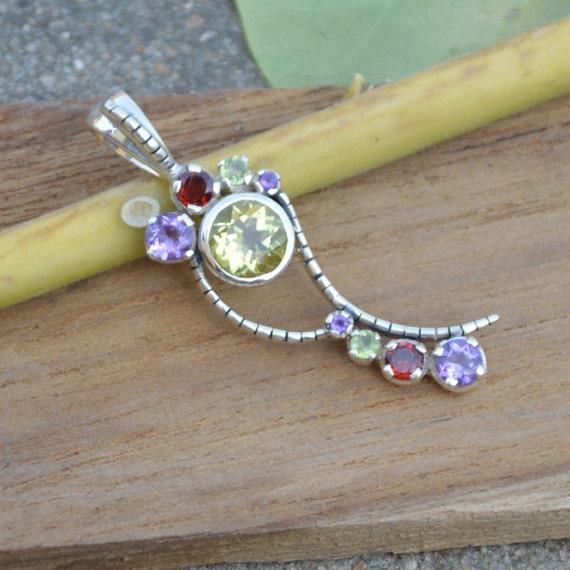 Lemon Topaz, Amethyst, Garnet, Peridot Pandant,  Multi STone Pandant,  Unique Gift Pandant Jewelry,  Sterling Silver Necklace