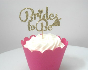 12 Bridal Shower Cupcake Toppers, Bride to Be Cupcake Toppers, Bride Cupcake Toppers, Glitter Bridal Shower Cupcake Toppers, Bride to Be
