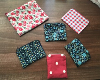 Handmade pouches and zip purses