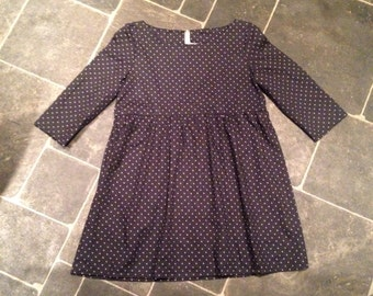 Only one available! Starry night navy and grey star print smock baby doll dress