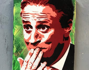 Jon Stewart Painting on Stretched Canvas - pre made and ready to ship - pictures show actual item you are purchasing.