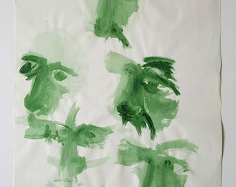 Original studies on paper, 50 x 70cm. acrylic green, portrait, green living, green interior, original art