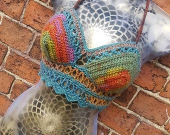 Crochet Bikini Halter Top Boho Festival