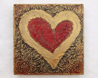 Hearts--Original Painting on Wood Block--Textured Art--Gold-Red--Valentines--Hearts Wall Decor--Love--Romantic Art--House Gift.