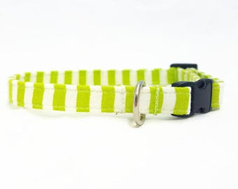 """Cat Collar  - """"Pastel Stripes"""" - Safety Buckle/Breakaway/Quick Release - Lime Green/White - Spring Cat Collar - Cute Cat Collar - Cotton"""
