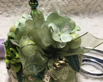 PRETTY Pincushion - Handcrafted - Greens
