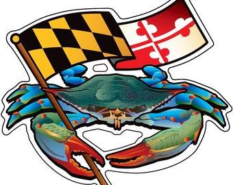 Maryland Blue Crab Banner Sticker