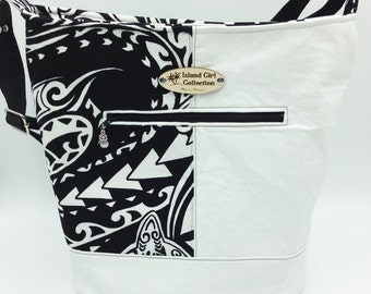 Large Handbag, Shoulder Bag, Bucket Bag, Purse in Black & White Tribal Print - Made in Maui