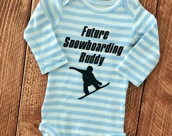 Future Snowboarding Buddy baby bodysuit.     Size 0-3 Months