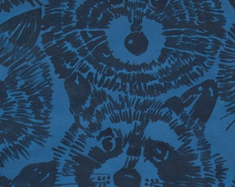 Alexander Henry Rocky Raccoon Blue Cotton KNIT Fabric, many size options available