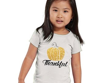 Thankful Glitter Pumpkin Girl's Shirt