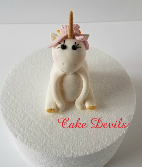 Unicorn Cake Topper Fondant Unicorn Rainbow Hair Unicorn