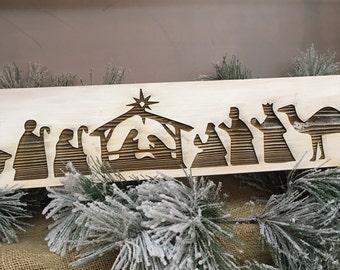 Engraved nativity scene, nativity scene