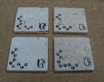 Stone cat coasters, natural stone tile, tumbled travertine, 4 coaster set, hand stamped tiles, cat lovers gift, rustic drinkware, home decor