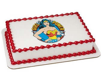 Wonder Woman Girl Power Superhero Edible Cake or Cupcake Toppers - Choose Your Size