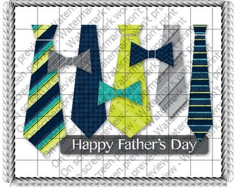 Happy Father's Day Ties and Bow Ties Edible Cake or Cupcake Toppers - Choose Your Size