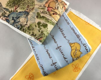 Burp Cloths, classic, vintage, Winnie the Pooh, writing, baby shower gift
