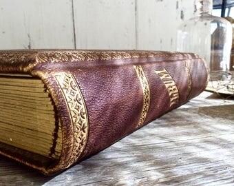 Antique leather bound photo album, Victorian photo album