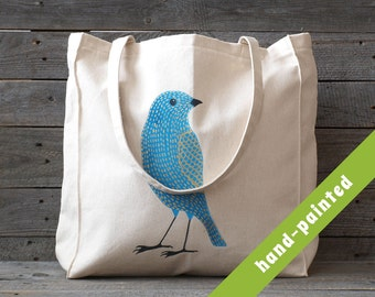 Bird Bag / Bird Canvas Tote bag / Bird Totes / Hand Painted Tote / Bird Gifts / Cotton Tote Bag / Eco bag/ Birds / Blue Bird / Bird Eco Bag