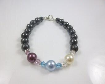Mothers Bracelet,Hematite Bracelet, Personalized Bracelet, Birthstone Bracelet, Jewelry for mom