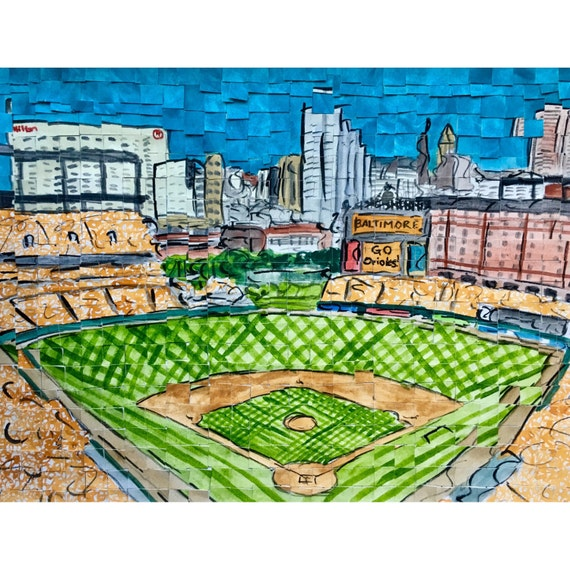 "Camden Yards - Orioles - MLB Baseball Stadium Architectural Art 11""x14"""
