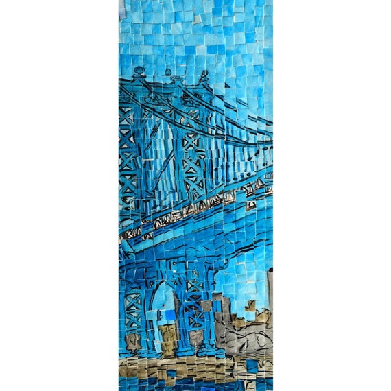 "Williamsburg Brooklyn - New York City - Manhattan Bridge -Architectural Art - Original Painting 10""x20"""