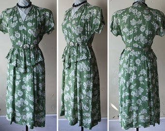 Vintage 40s Swing Dress Olive Green & White Floral Print Rayon S M