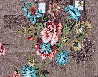 Cocoa Brown & Vibrant Floral Print Vintage 50s Barkcloth Fabric 2.5 yards
